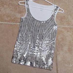 Michael Kors silver sequin tank top